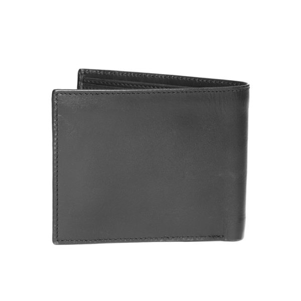 Men Black Solid Two Fold Leather Wallet