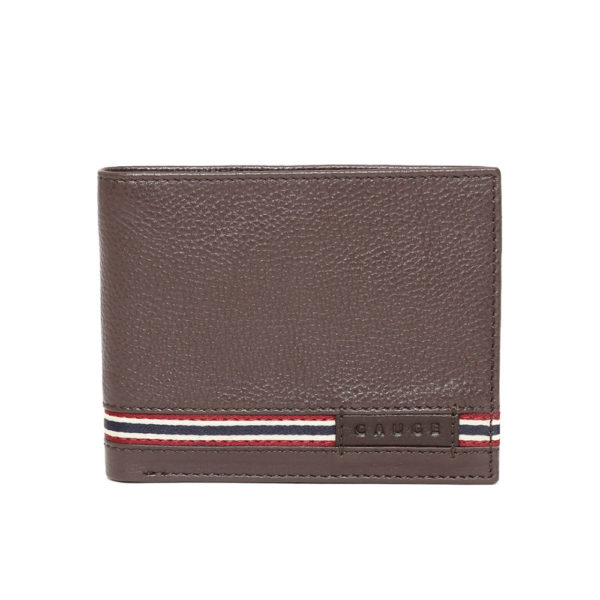 Men Coffee Brown Solid Leather Two Fold Wallet