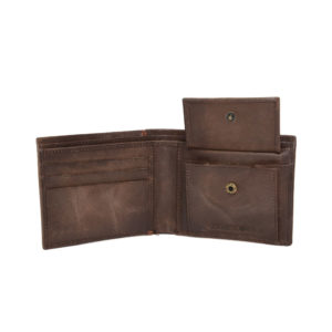 Men Brown Solid Leather Two Fold Wallet