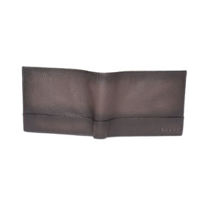 Men Coffee Brown Leather Solid Two Fold Wallet