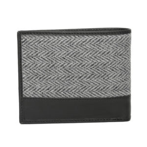 Men Black & Grey Self Design Leather Two Fold Wallet