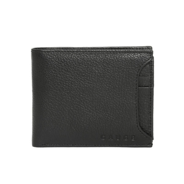Men Black Solid Leather Two Fold Wallet
