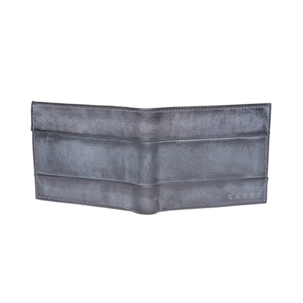 Men Navy Blue Solid Two Fold Leather Wallet