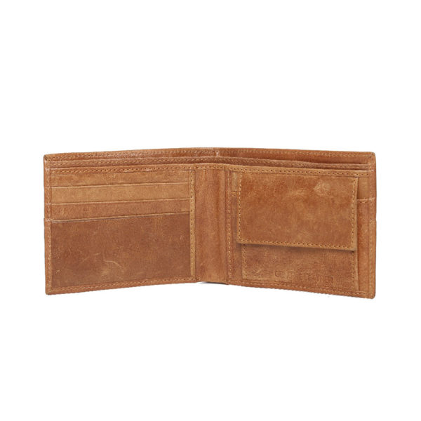 Men Tan Brown Solid Leather Two Fold Wallet