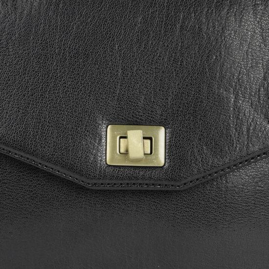 Black Solid Messenger Bag