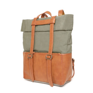 Brown & Olive Green Colourblocked Handcrafted Laptop Backpack