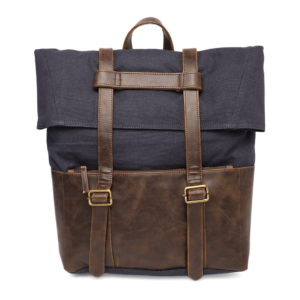 Blue & Brown Solid Backpack