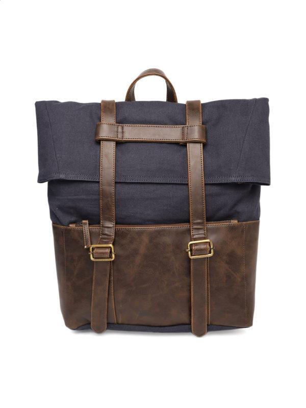 Blue & Brown Solid Backpack
