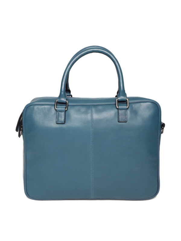 Teal Blue Solid Handcrafted Solid Leather Laptop