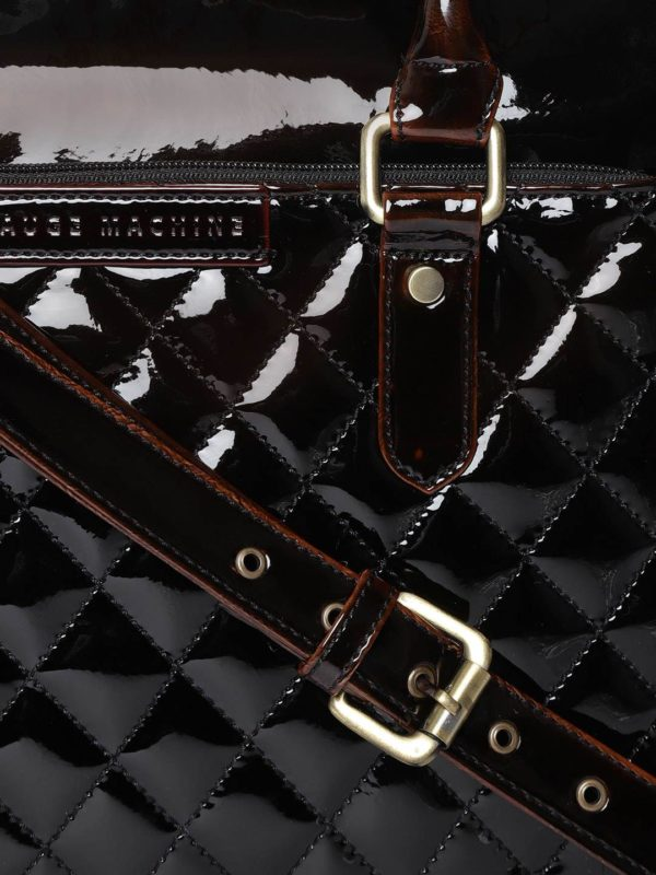 Coffee Brown Quilted Laptop Bag