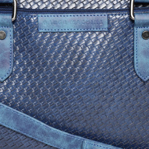 Blue Textured Handcrafted Laptop Bag