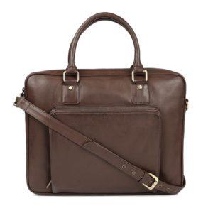 Brown Solid Laptop Bag