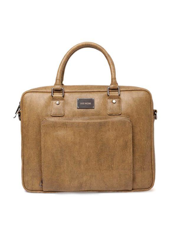 Tan Brown Solid Laptop Bag