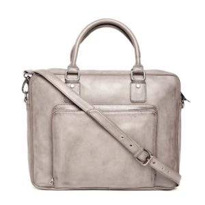 Taupe Solid Laptop Bag with Detachable Sling Strap