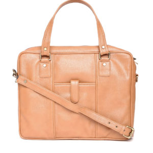 Tan Brown Laptop Bag with Sling Strap
