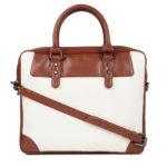 White & Tan Brown Colourblocked Laptop Bag