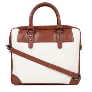 White & Tan Brown Colourblocked Laptop Bag