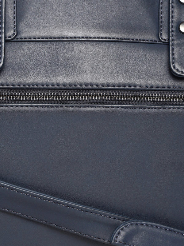 Navy Blue Solid Handcrafted Laptop Bag
