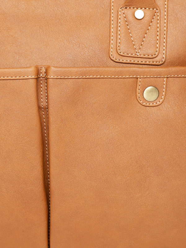 Tan Brown Solid Handcrafted Laptop Bag