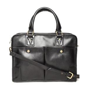Black Solid Handcrafted Laptop Bag
