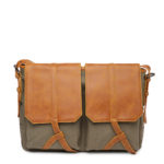 Tan Brown & Olive Green Solid Laptop Bag