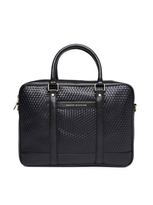 Black Textured Laptop Bag
