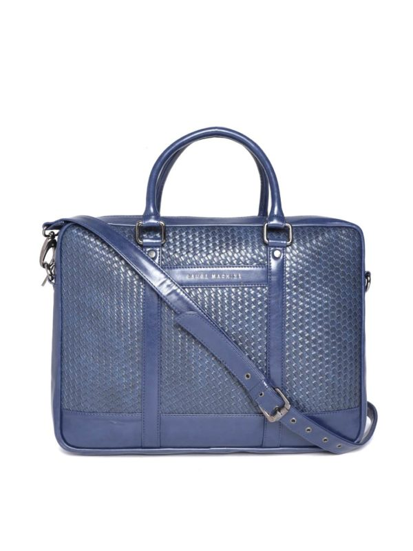Navy Blue Textured Laptop Bag
