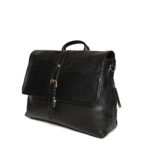 Black Handcrafted Solid Laptop Bag