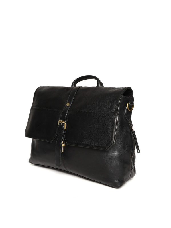 Black Handcrafted Solid Laptop Bag