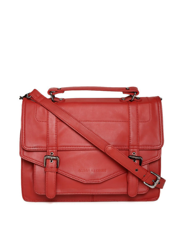 Red Handcrafted Solid Messenger Bag